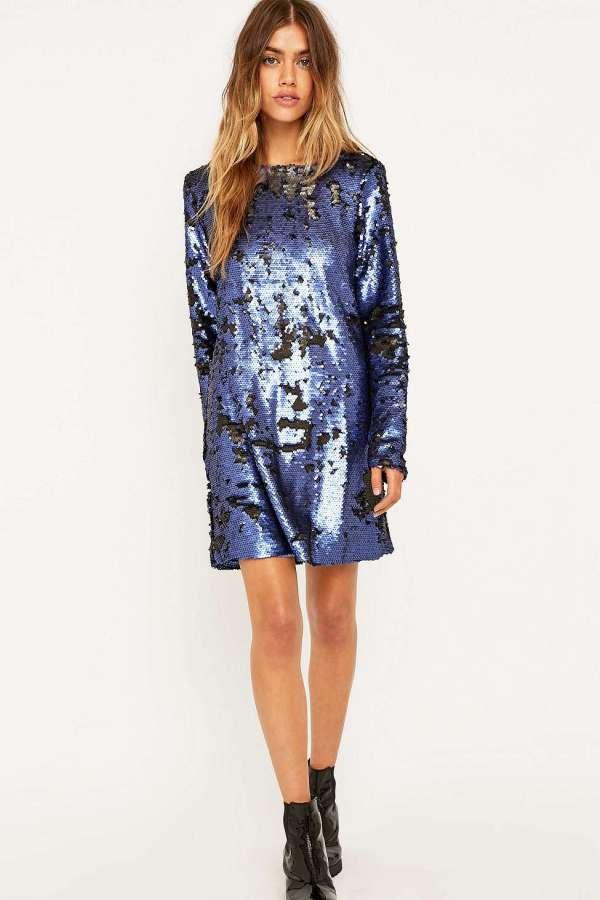 Minkpink Escape Sequin Blue Dress